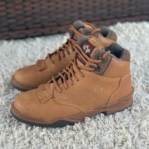 Roper Horseshoe Kiltie Lace Up Tan Oiled Leather Ankle Boots Fringe Inserts EUC